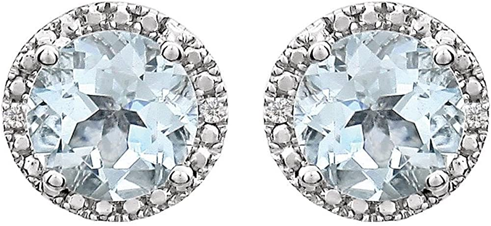 Sterling Silver Aquamarine /& .01 CTW Diamond Earrings