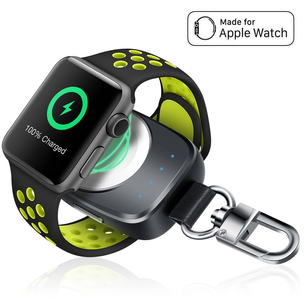 Wireless iPhone Watch Charger [ MFi Certified], Portable iwatch Charger 700mAh Smart Keychain Power Bank, Compatible Watch Series 4, 3, 2, 1 & Nike 44/40/38/42mm Watch Charger for Travel