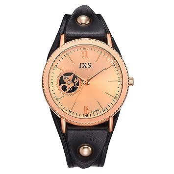 Hswt Reloj De Cuarzo Acero Inoxidable Correa De PU Personalidad Reloj De Pulsera Ocio Creativo Decoración