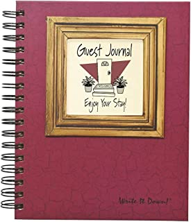 "product image for Journals Unlimited ""Write it Down!"" Series Guided Journal, Guest Journal, Enjoy Your Stay!, with a Cranberry Hard Cover, Made of Recycled Materials, 7.5""x 9"""