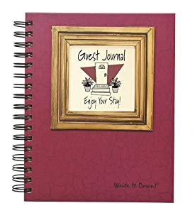 "Journals Unlimited ""Write it Down!"" Series Guided Journal, Guest Journal, Enjoy Your Stay!, with a Cranberry Hard Cover, Made of Recycled Materials, 7.5""x 9"""