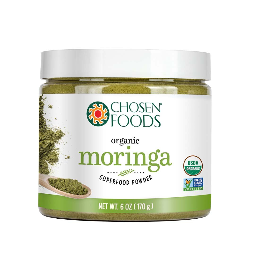 Chosen Foods Organic Moringa 6 oz. Purest Premium Green Superfood Powder, Vegan and USDA Certified for Quality, Safety, Maxiumum Nutrient Density by Chosen Foods