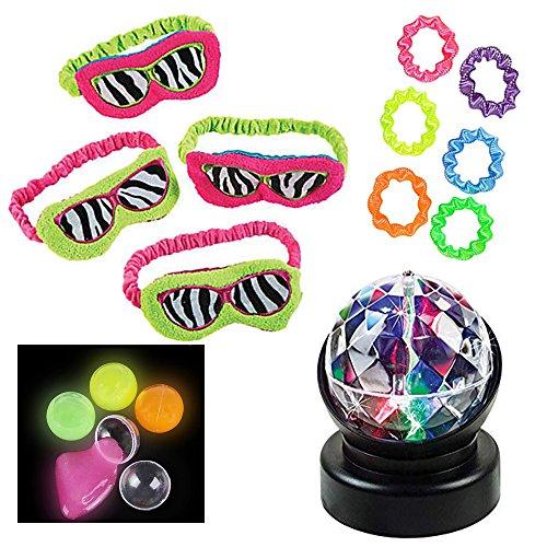 Girls Sleepover Party Pack for: 4 Neon Animal Print Plush Eye Masks, 4 Glow Putties, 4 Neon Twist Bracelets, 1 Prisma Light