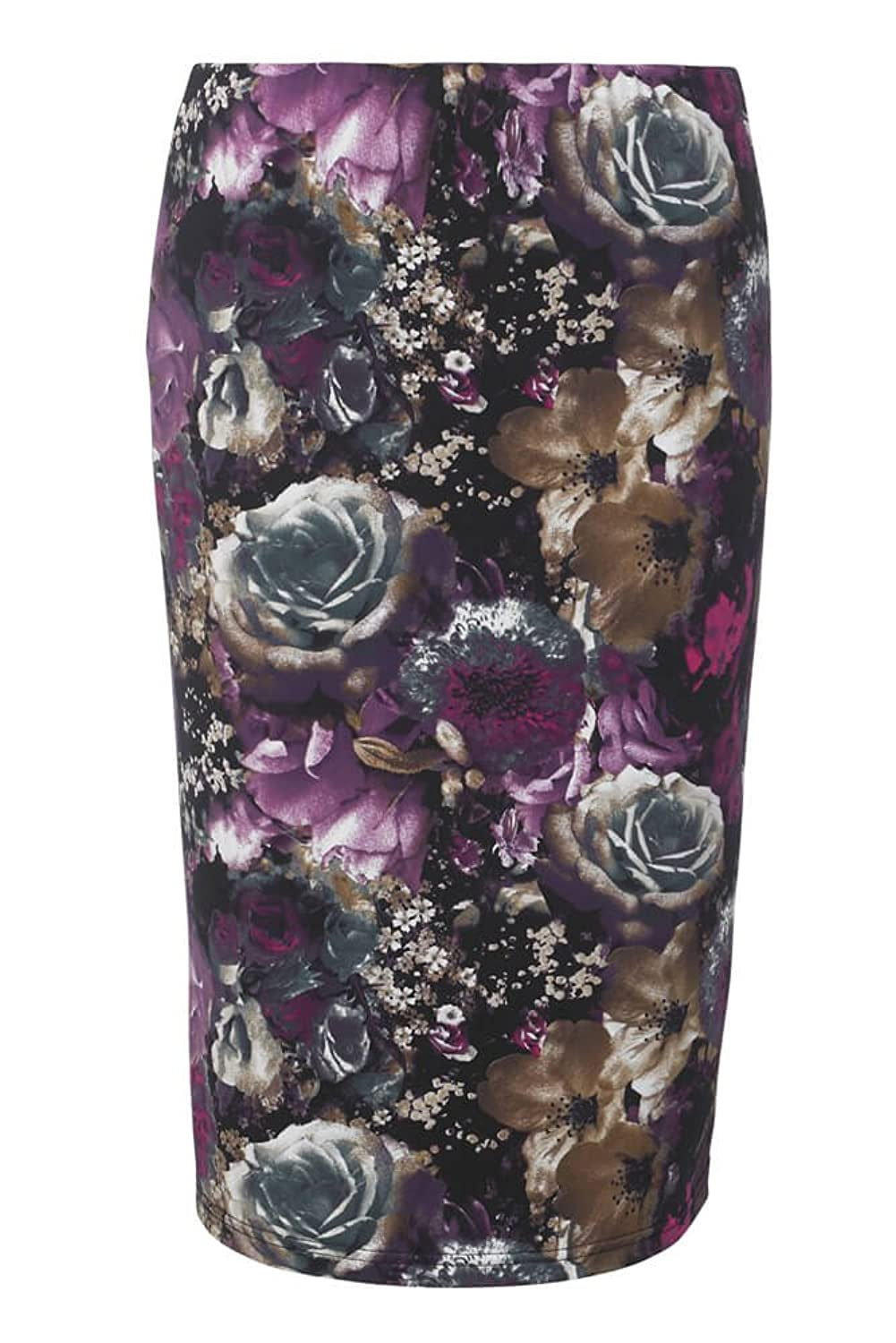 Aubergine Photographic Floral Print Pencil Skirt