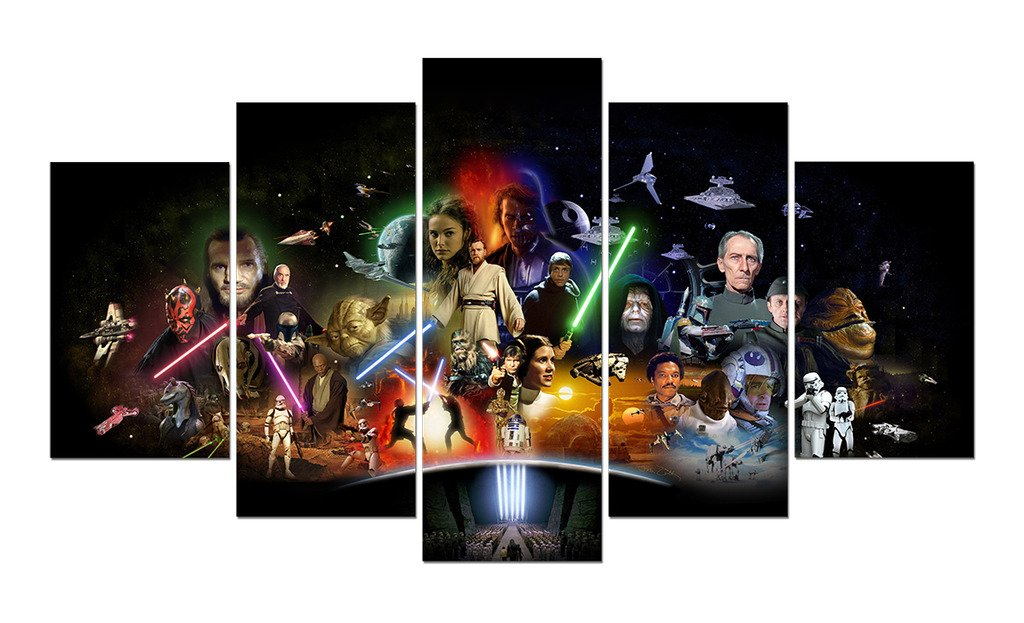 LMPTART(TM) 60x34 inches print star wars Movie poster picture for kids decor home decor wall art picture for living room deor print oil Painting on canvas art prints Framed Painting ready to hang wall