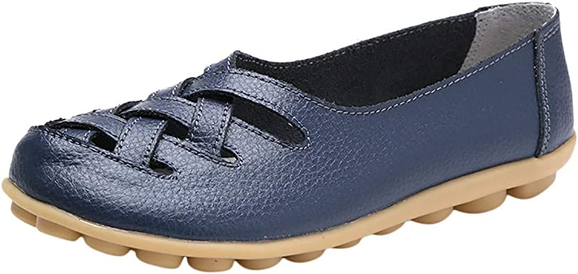 Hishoes Mocassin Femme Cuir Souple Loafers Casual Plat Bateau Chaussures Confort Sandales