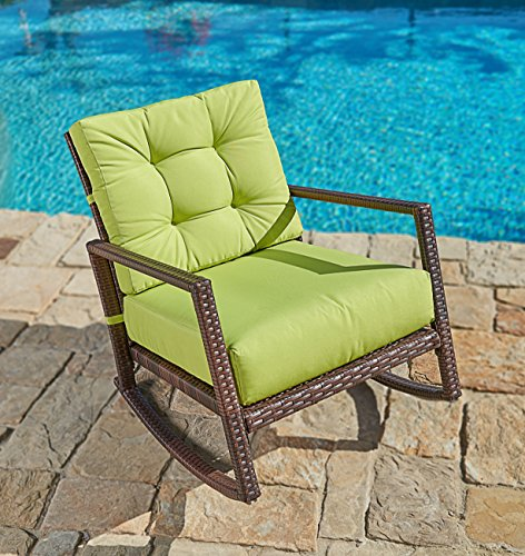 Suncrown Outdoor Furniture Lime Green Patio Rocking Chair | All-Weather Wicker Seat with Thick, Washable Cushions, Velcro Straps | Backyard, Pool, Porch | Smooth Gliding Rocker with Improved Stability