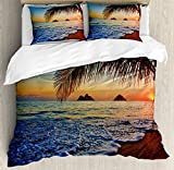Hawaiian Decor Duvet Cover Set Queen Size by Ambesonne, Pacific Sunrise at Lanikai Beach, Hawaii Colorful Sky Wavy Ocean Surface Scene, Decorative 3 Piece Bedding Set with 2 Pillow Shams