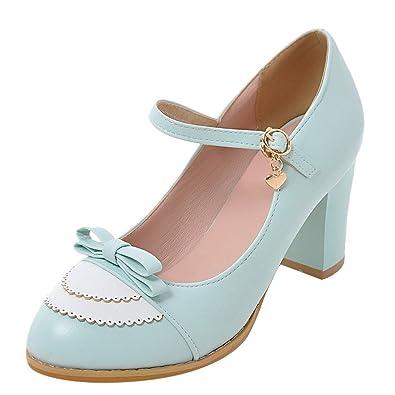 YE Damen Mary Jane Rockabilly Pumps Blockabsatz High Heels mit Riemchen und Schleife Elegant Schuhe