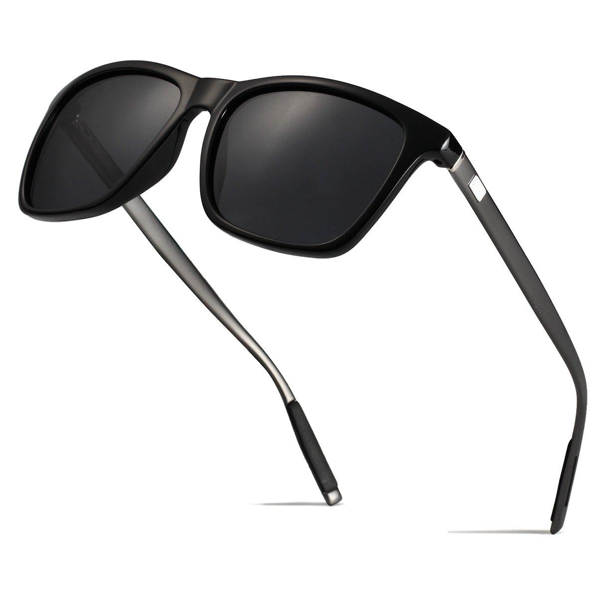 95ef3b85df Amazon.com  Mens Retro Wayfarer Polarized Sunglasses UV protection  Sunglasses for men Black  Clothing