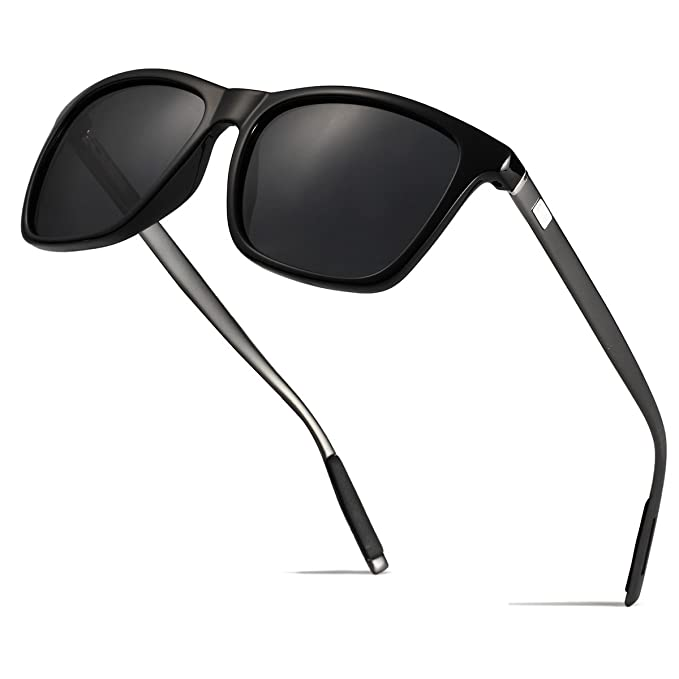 2a5c811dbed Mens Retro Wayfarer Polarized Sunglasses UV protection Sunglasses for men  Black