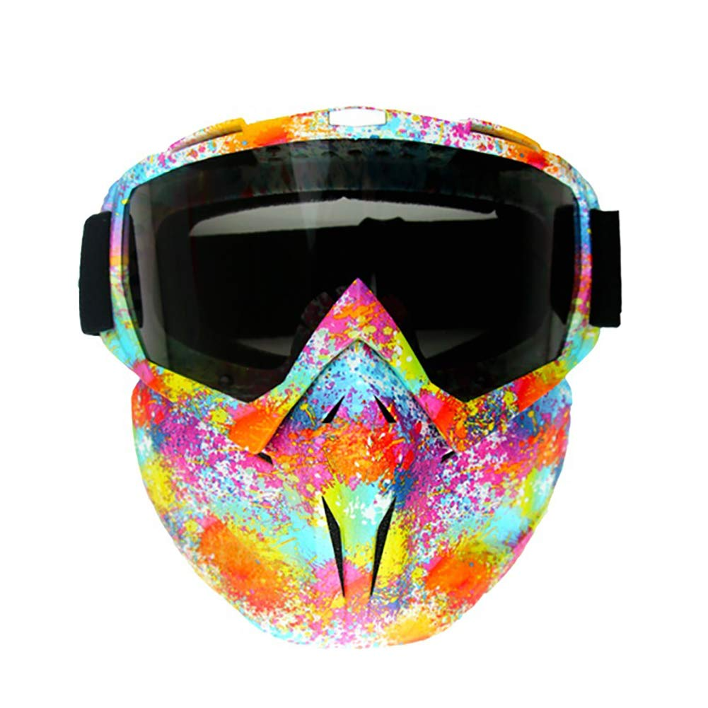 LALEO Motorcycle Goggles Splash Style UV Protection Dustproof Windproof Detachable Mask Half Helmet Riding Sunglasses for Youth Kids Men and Women Sport Outdoor Motocross ATV Bike Off-Road