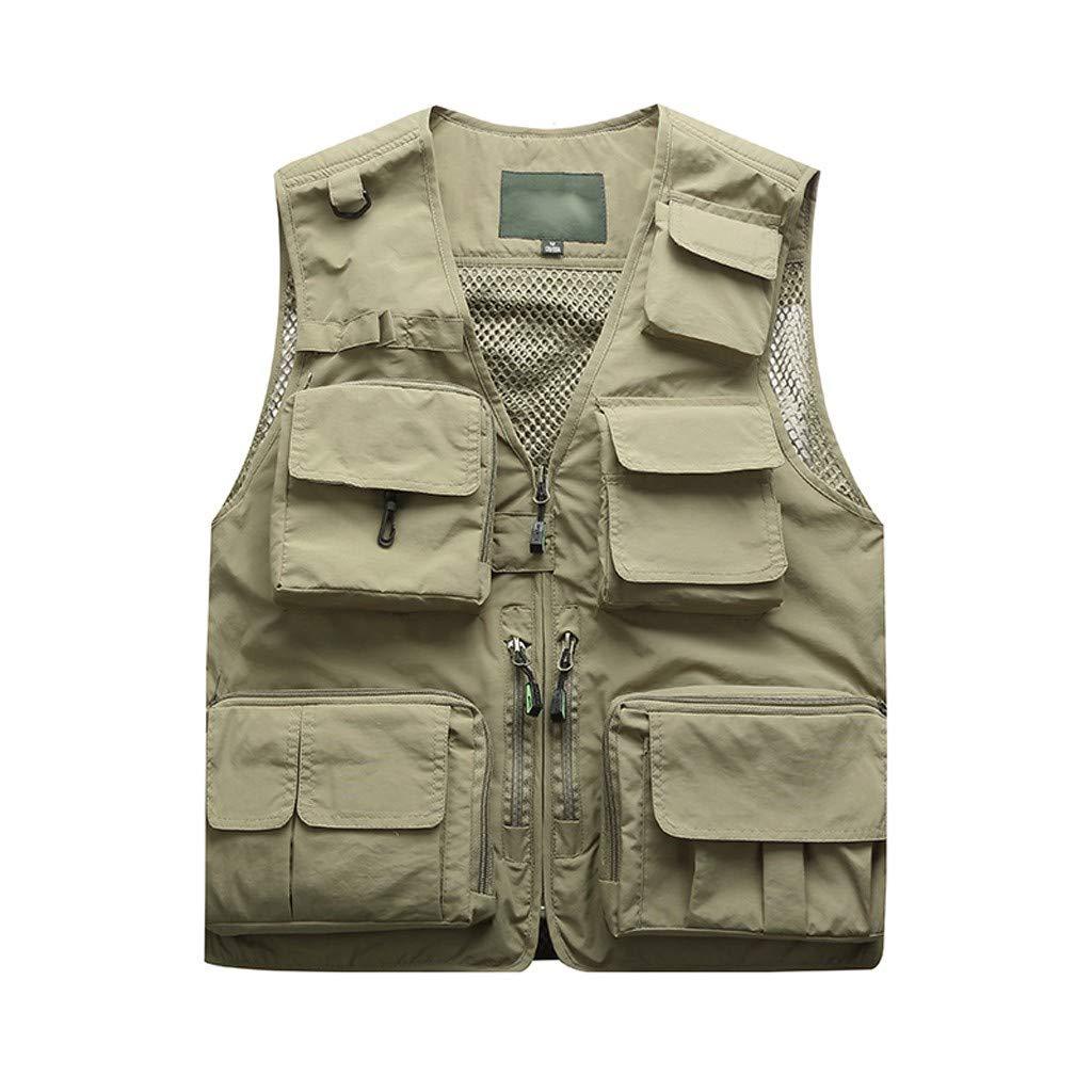 Mens Summer Vest,Tronet Men Photography Outdoors Mesh Multi-Pocket Sleeveless Jackets Vest Waistcoat