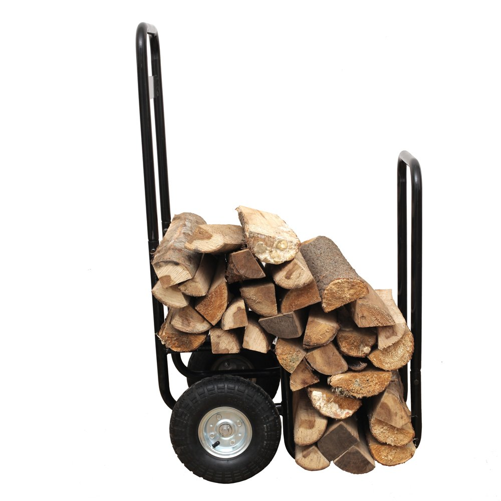 HIO Haul-It Wood Mover Rolling Firewood Cart, Log Rack On Wheels, Black