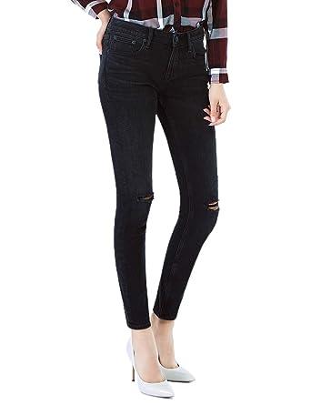 7ee274e3e26 D-ID Women's Skinny Jeans Black Skinny Ankle Mid Rise Ripped Jean Dark  Petite Jeans