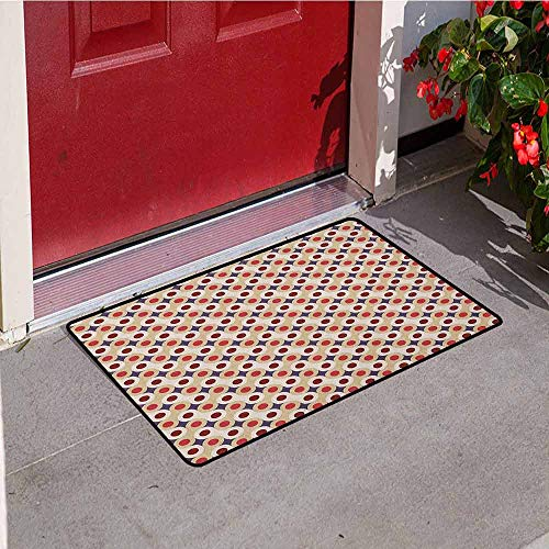 (GloriaJohnson Geometric Universal Door mat Abstract Disc Shaped Circle Motif Round Retro Wrench Art Deco Inspired Mosaic Door mat Floor Decoration W29.5 x L39.4 Inch Multicolor)