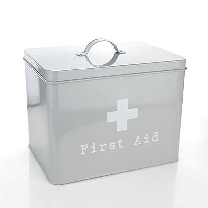 Harbour Housewares First Aid Medicine Storage Box In Vintage Metal   Grey