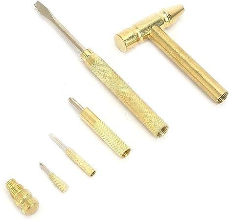 Outil Polyvalent de Marteau en Laiton 6-en-1 avec Outils de quincaillerie pour poign/ée plaqu/ée TINGB Petites r/éparations m/écaniques