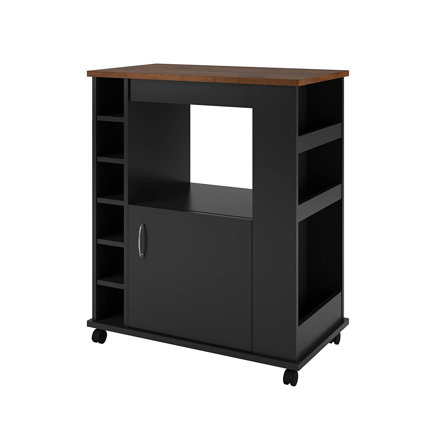 Altra Furniture Williams Kitchen Cart, Black/Old Fashioned Pine 5276056PCOM