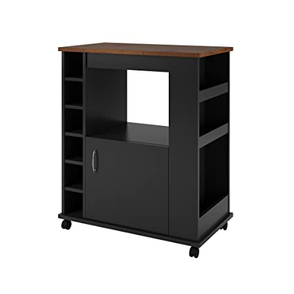 Amazon Com Ameriwood Home Williams Kitchen Cart Black Kitchen