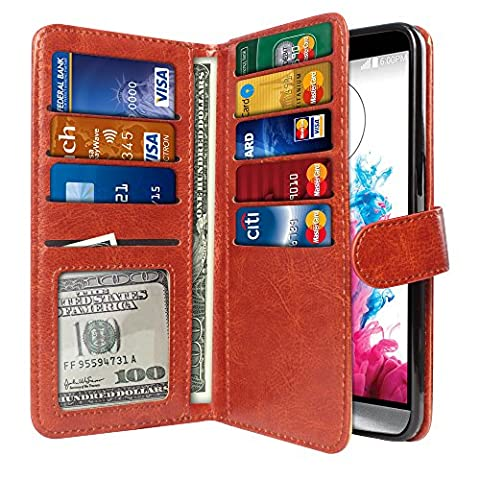NextKin LG G3 D850 D851 LS990 VS985 D855 Case, Premium PU Leather Dual Wallet Folio TPU Silicone Cover, 2 Large inner Pockets Double flap Privacy, 9 Card Slots Holder Magnetic Closure - Dark (Lg G3 Phone Casing)