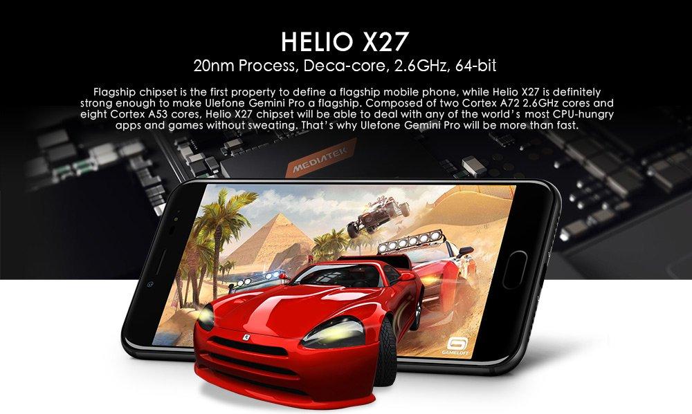 Ulefone Gemini Pro - Android 7.1 5.5 pulgadas FHD pantalla 4G smartphone Helio X27 Deca Core 2.6GHz, 4GB + 64GB, cámaras triples Tipo de huella dactilar-C: ...