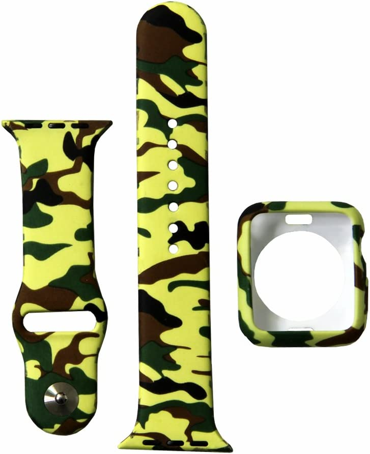Camo Watch Band with Case, Silicone Sport iWatch Strap with Shock-Proof and Shatter-Resistant Protective Cover Compatible for Apple Watch 38mm Series 3 2 1 (Camouflage Green B+C, 38mm)