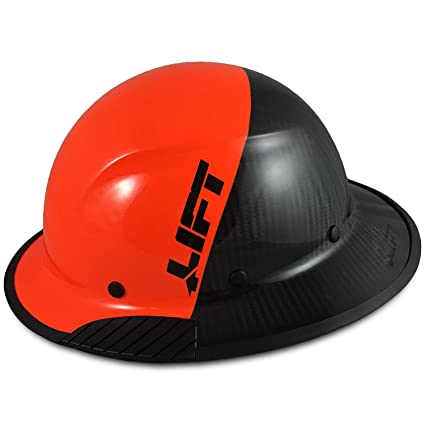 Texas America Safety Company Actual Carbon Fiber Material Hard Hat with  Hard Hat Tote- Full Brim, Hi-Viz Orange and Black with Protective Edging