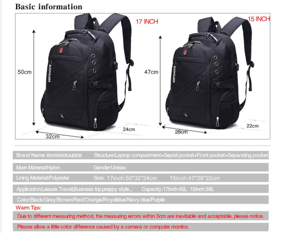 Backpack Swiss Oxford Pouces 17 Ordinateur Charge Panrezhesty Usb TwPXiOkuZ