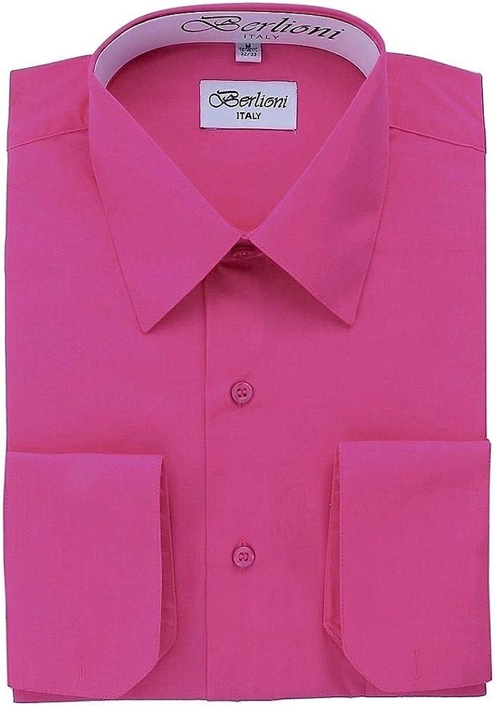 Berlioni Mens Long Sleeve Solid Colors Convertible Cuffs Dress Shirts Many Colors