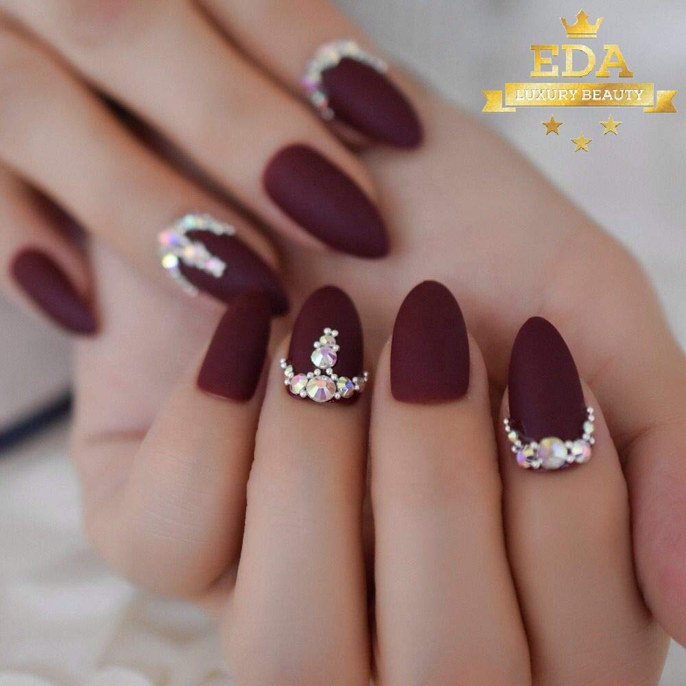 EDA Luxury Beauty Matte Dark Red Burgundy 3D Glamorous Jewel Design Gel Glitter Artificial Nail Tips Acrylic Press On Perfect False Nails Extra Long Round Oval Almond Stiletto Super Fashion Fake Nails by EDA LUXURY BEAUTY