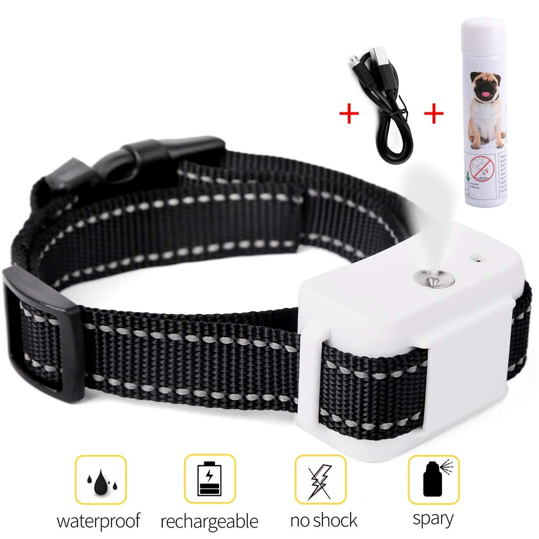 Dog Bark Collar, Jing Cheng Compact Anti-Bark Dog Spray Bark Collar with Auto-Barking Detection , Adjustable Sensitivity, Humane, Rechargeable and Waterproof for Small Medium Large Dogs by Jing Cheng