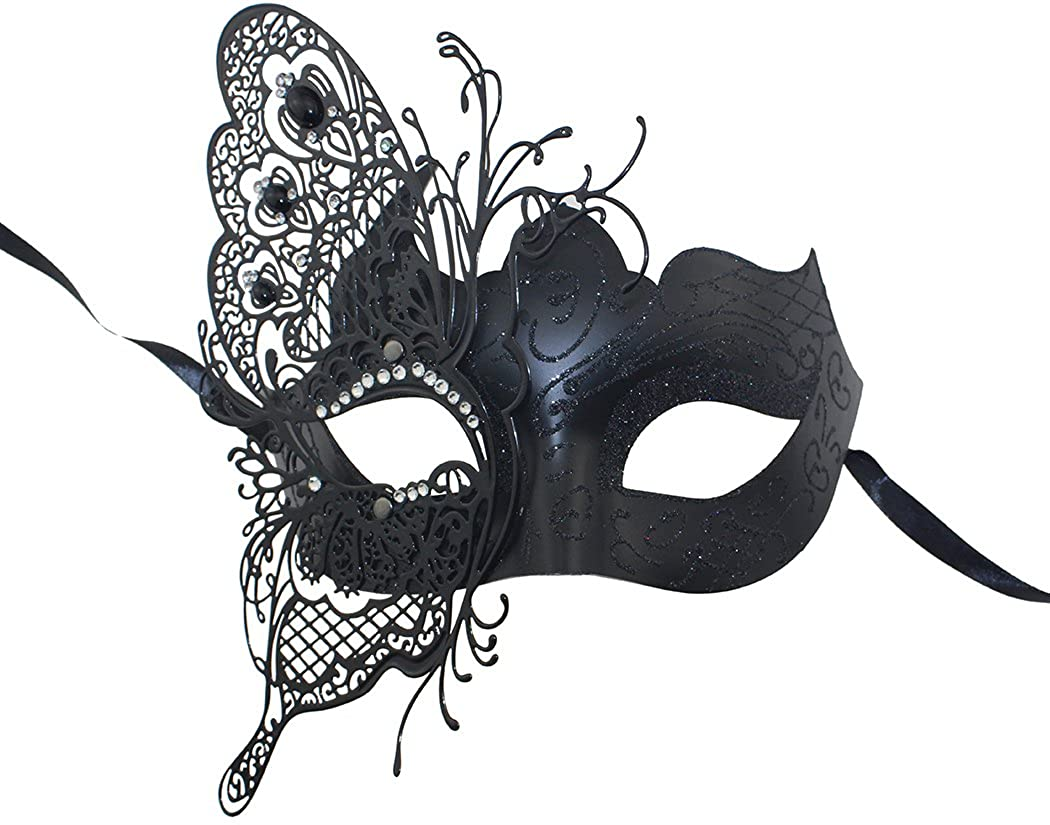 White Glitter Butterfly Masquerade Mask Halloween Ball Mardi Gras Mask