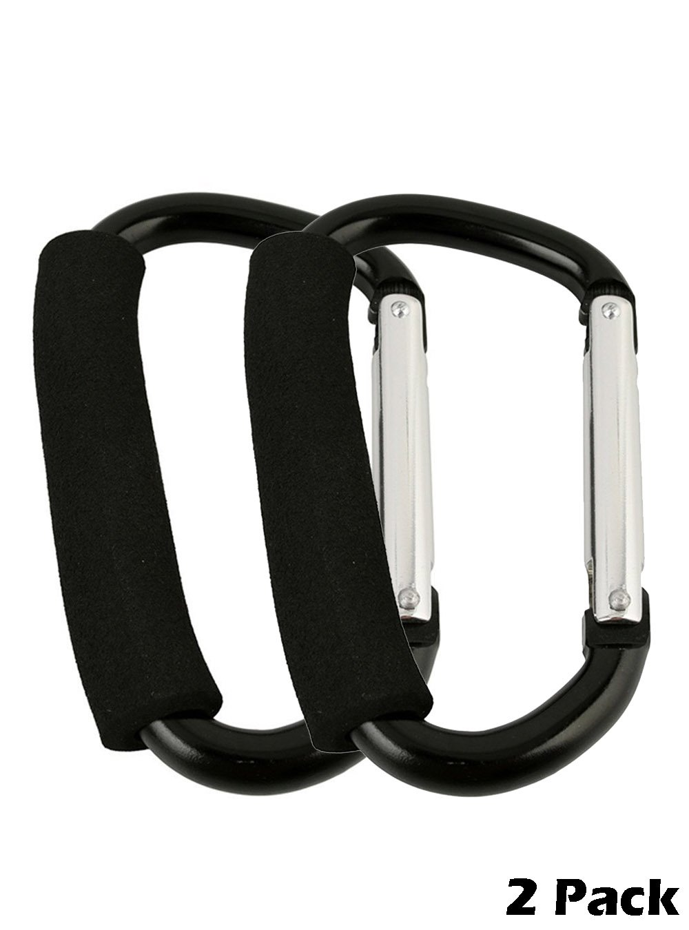 Snowmanna- Assorted Colors Large D Type Shopping Bag Hook Clip Carry Handle Carabiner with Sponge for Baby Pushchair Pram Stroller Hanger Trolley Mummy Clip Holder (black(2pcs)) by Snowmanna