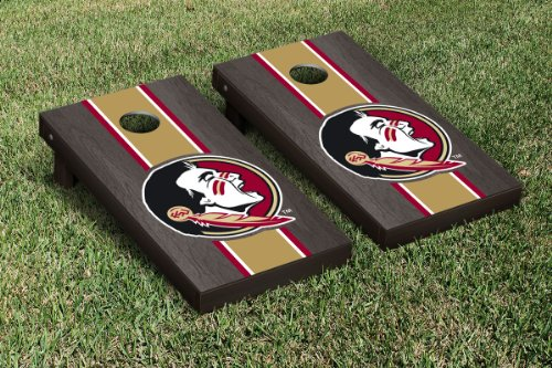 NCAA Stained Striped Wooden Cornhole Game Set Color: Onyx, NCAA Team: Florida State University Seminoles