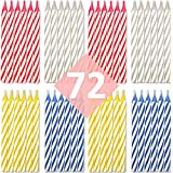 Toys : Bundaloo Birthday Candles 72 Pack - Cake Decorations - Colors: Pink, White, Blue, Yellow