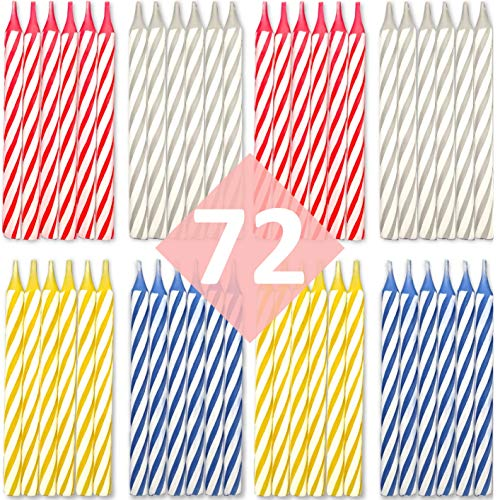 Bundaloo Birthday Candles 72 Pack - Cake Decorations - Colors: Pink, White, Blue, Yellow
