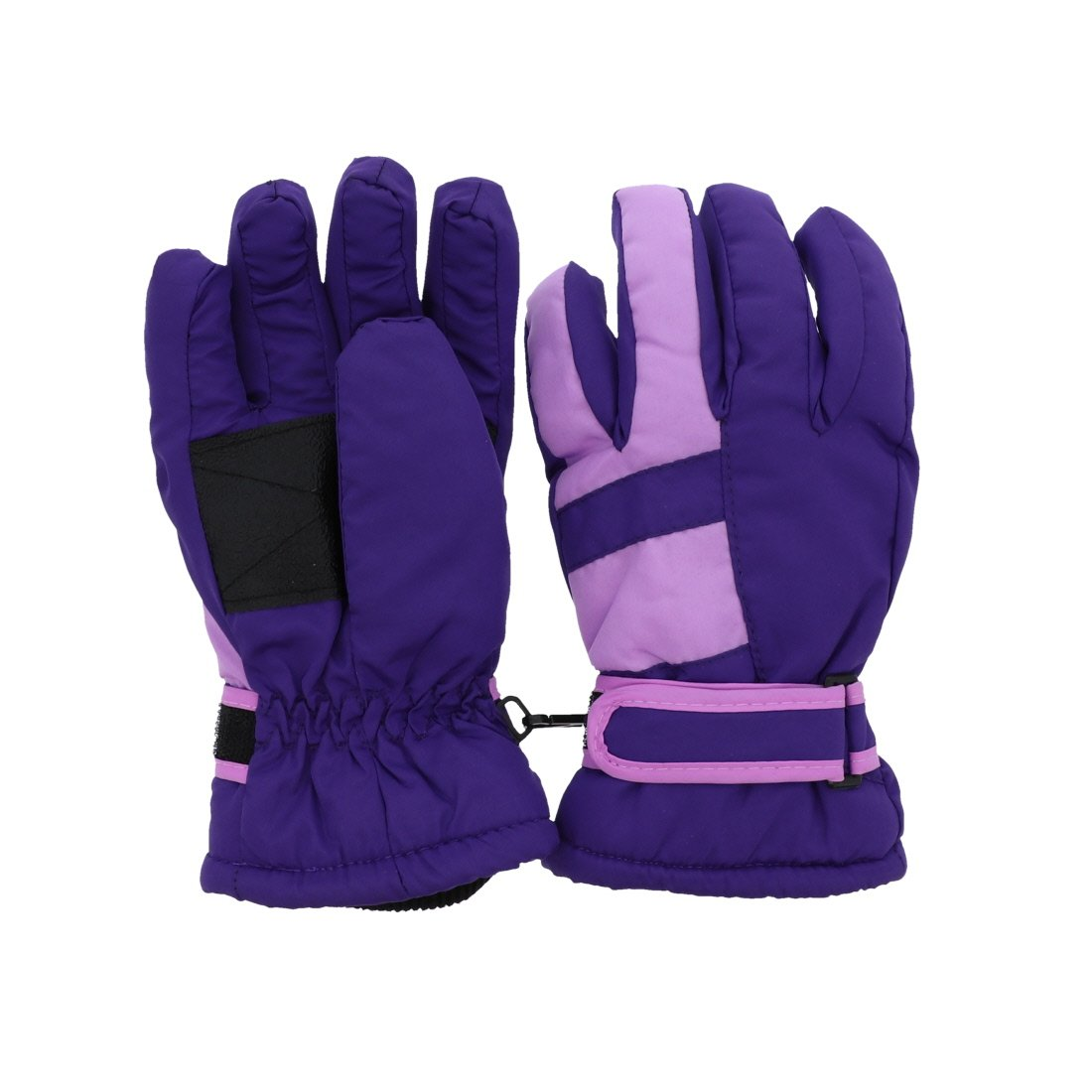 Waterproof Stripe Ski Gloves for Youth - Purple MTGL0052PU