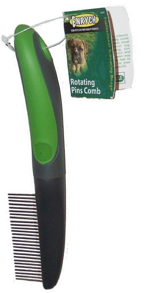 Enrych Rotating Pins Pet Comb, Green/Gray Series