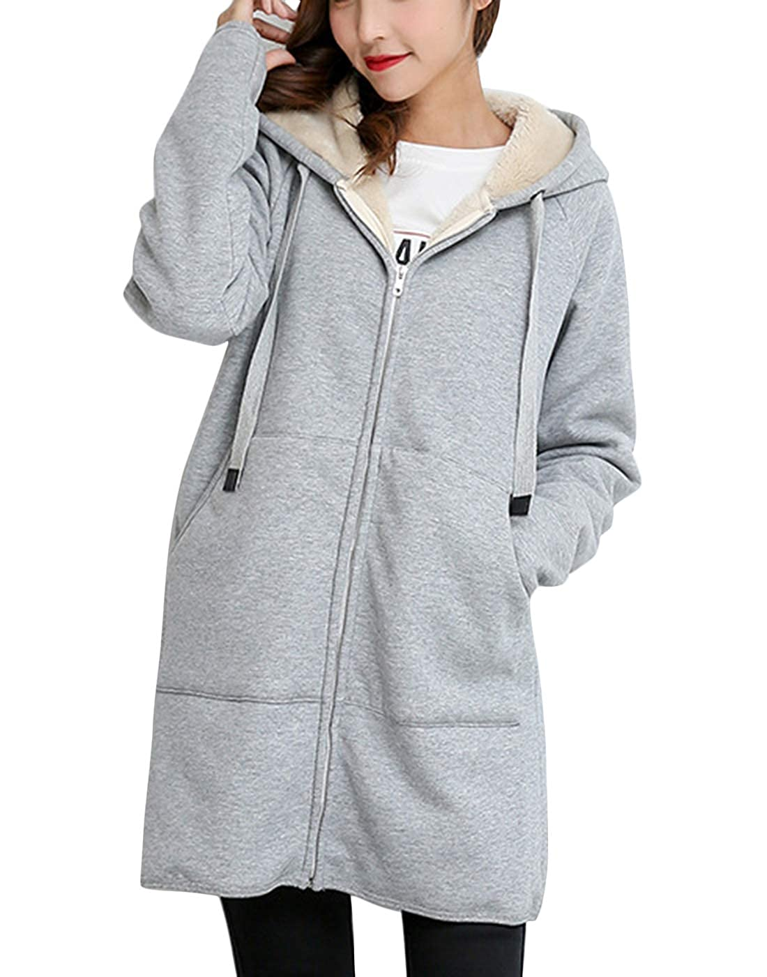 Yeokou Womens Loose Sherpa Lined Zipper Hooded Mid Long Sweatshirt Pocket