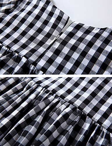 Little Girls High Waist Plaid Dress Black White Long Sleeve Spring Fall Playwear Size 110 (4T) Black Plaid by DeerBird (Image #7)