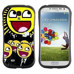 Hybrid Anti-Shock Bumper Case for Samsung Galaxy S4 / Smiley Army