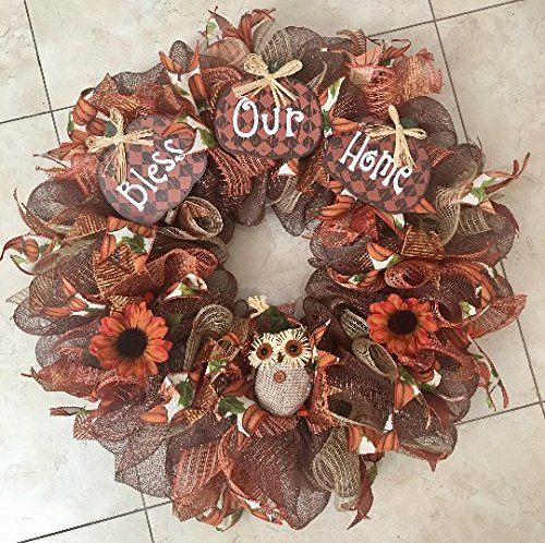 Fall and Thanksgiving Decor Wreath with Wooden Pumpkin Plaques, Burlap Owl, Flowers and Gorgeous Burlap Pumpkin Ribbons