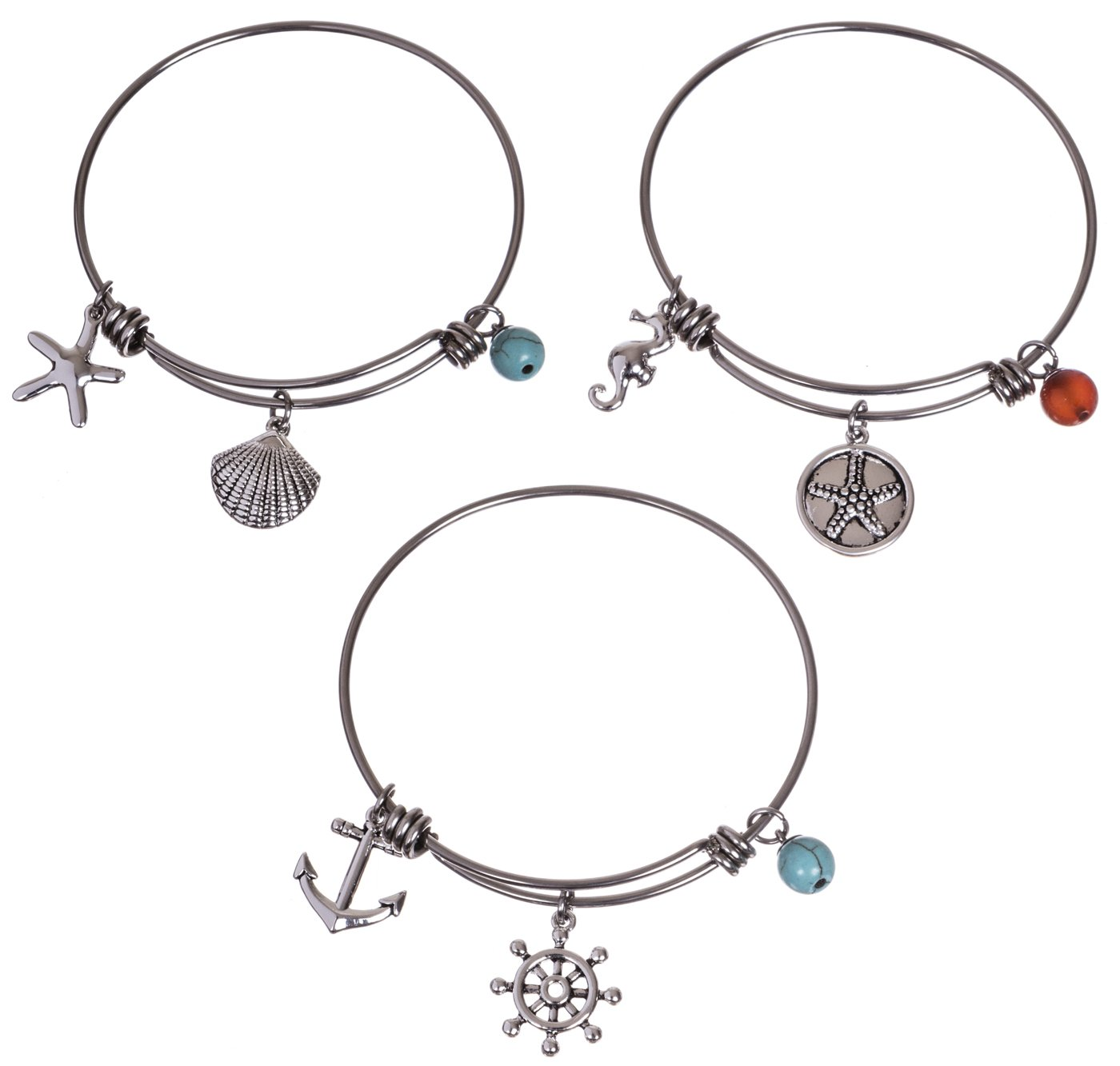 Silver Plated Stainless Steel Expandable Charm Bracelet Bangle - Make a Splash - Set of 3