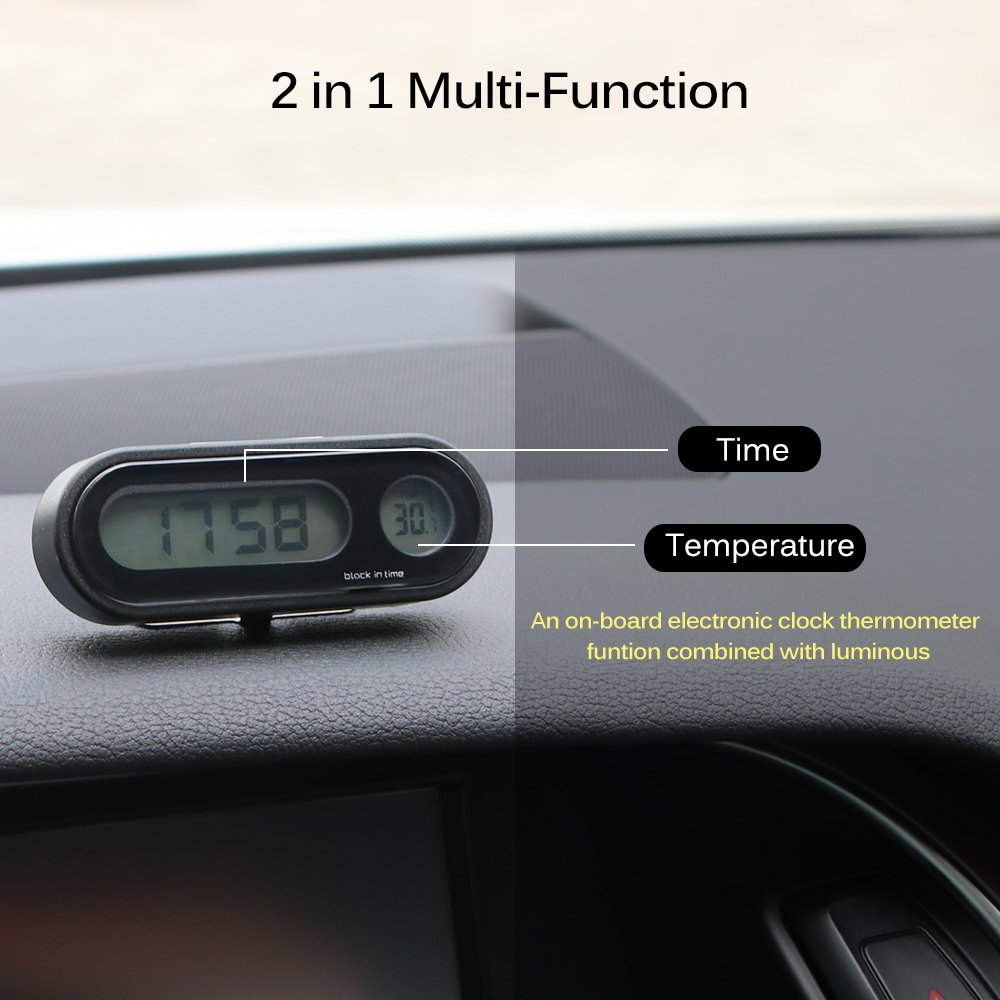 2 in 1 Mode Auto Digital Clock Fahrzeuge Temperaturanzeige mit LED Hintergrundbeleuchtung f/ür Universal Cars Houkiper Auto Uhr