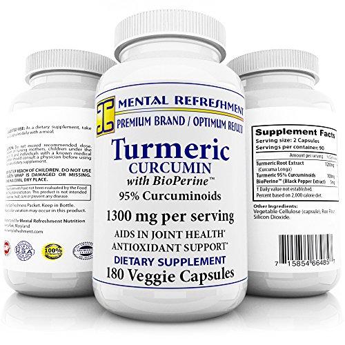 Pure Turmeric Curcumin with Bioperine 1300mg -180 Caps with 95% Curcuminoids - 100% Natural Turmeric Root - Powerful Antioxidant, Maximum Joint Comfort & Mobility, Natural Anti-Inflammatory