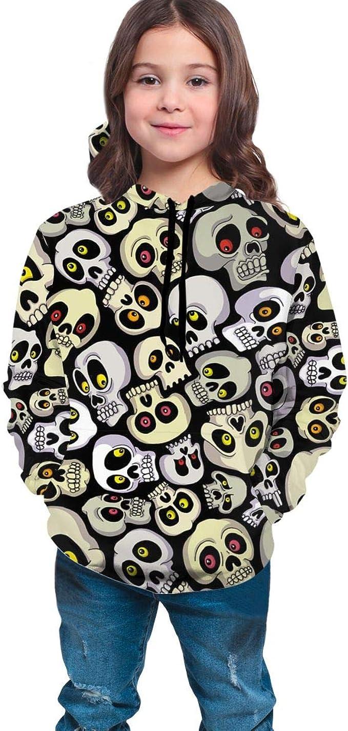 Kjiurhfyheuij Teen Pullover Hoodies with Pocket Cool Skull Rose Soft Fleece Hooded Sweatshirt for Youth Teens Kids Boys Girls