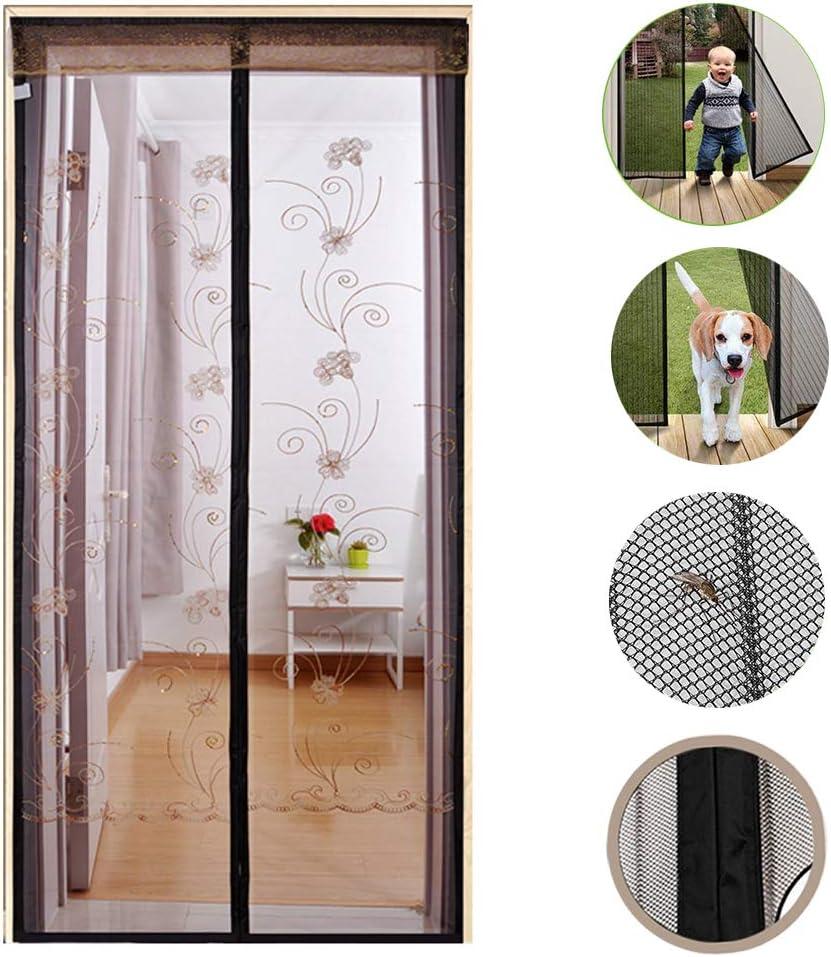 WYMNAME Bordado de Reforzado Puerta de pantalla magnética de la mosca, Puerta cortina de malla de pantalla Pantalla de insectos Cortina de la puerta Cierre automático-marrón 90x210cm(35x83inch): Amazon.es: Bricolaje y herramientas