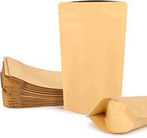 STSUNEU 50 Pieces Kraft Paper Aluminum Foil Bags, 5.1 x 8.3 Inches Zipper Lock Self Seal Flat Pouch For Party Favor Food Candy Nut Dry Food