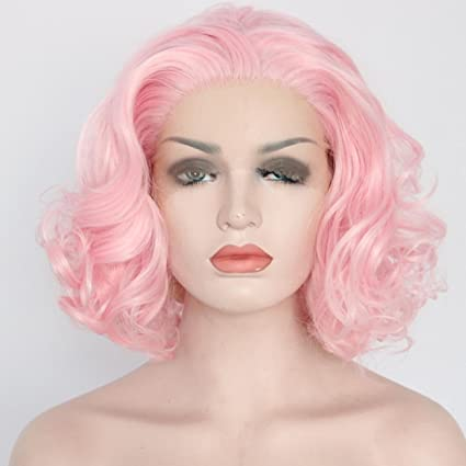 Seraphicwig corto Bob peluca sintetica rizada del frente del cordon peluca para mujer de aspecto natural